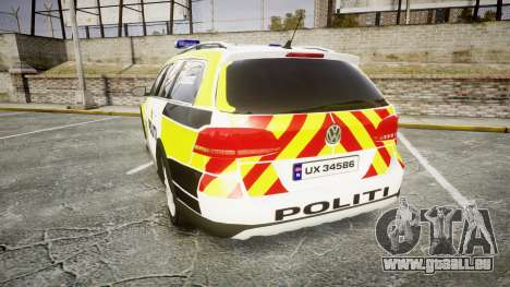 Volkswagen Passat 2014 Marked Norwegian Police für GTA 4 hinten links Ansicht