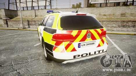 Volkswagen Passat 2014 Marked Norwegian Police für GTA 4 hinten links Ansicht