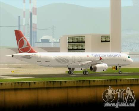 Airbus A321-200 Turkish Airlines pour GTA San Andreas sur la vue arrière gauche
