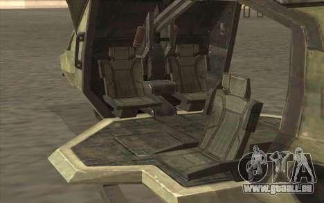 HELO4 Future Hunter pour GTA San Andreas sur la vue arrière gauche