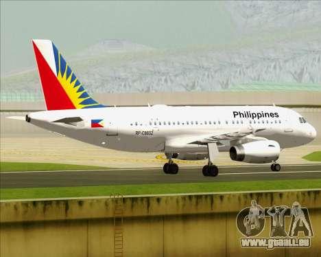 Airbus A319-112 Philippine Airlines für GTA San Andreas rechten Ansicht