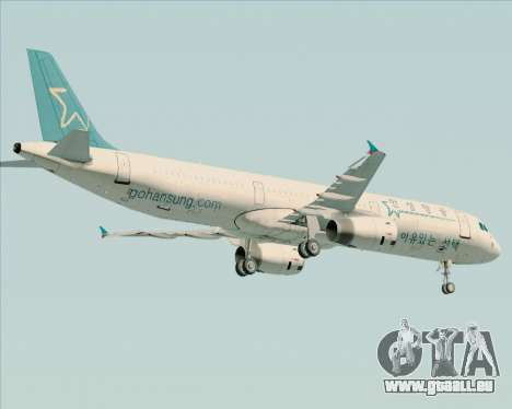 Airbus A321-200 Hansung Airlines für GTA San Andreas obere Ansicht