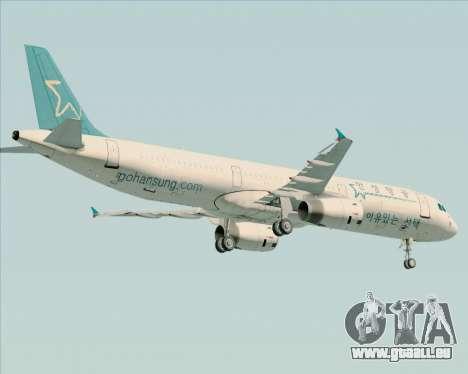 Airbus A321-200 Hansung Airlines für GTA San Andreas obere Ansicht