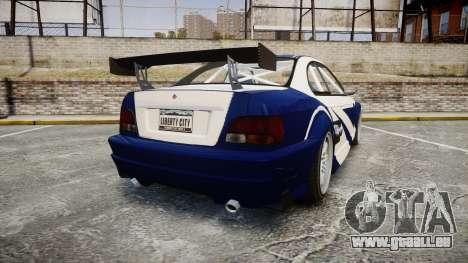 Ubermacht Sentinel GTR Most Wanted style für GTA 4 hinten links Ansicht