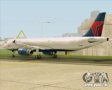 Airbus A321-200 Delta Air Lines pour GTA San Andreas sur la vue arrière gauche
