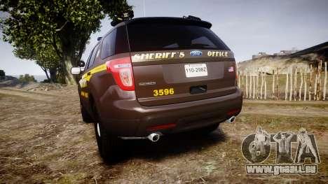 Ford Explorer 2013 Sheriff [ELS] Virginia pour GTA 4 Vue arrière de la gauche
