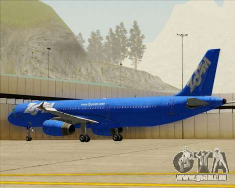 Airbus A321-200 Zoom Airlines für GTA San Andreas obere Ansicht