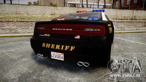 GTA V Bravado Buffalo LS Sheriff Black [ELS] für GTA 4 hinten links Ansicht
