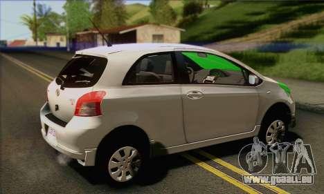 Toyota Yaris Shark Edition pour GTA San Andreas laissé vue