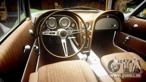Chevrolet Corvette Stingray 1963 pour GTA 4 est une vue de l'intérieur