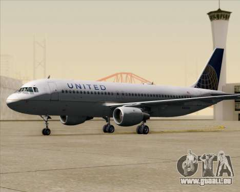 Airbus A320-232 United Airlines für GTA San Andreas obere Ansicht