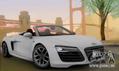 Audi R8 V10 Spyder 2014 pour GTA San Andreas sur la vue arrière gauche