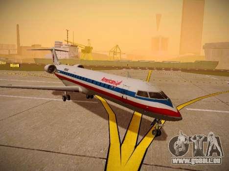 Bombardier CRJ-700 American Eagle pour GTA San Andreas sur la vue arrière gauche