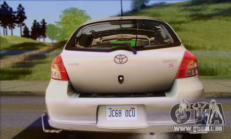 Toyota Yaris Shark Edition für GTA San Andreas Rückansicht