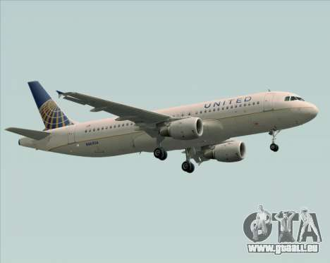 Airbus A320-232 United Airlines für GTA San Andreas linke Ansicht