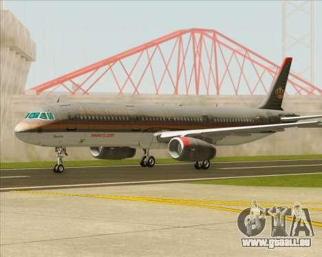 Airbus A321-200 Royal Jordanian Airlines für GTA San Andreas Unteransicht