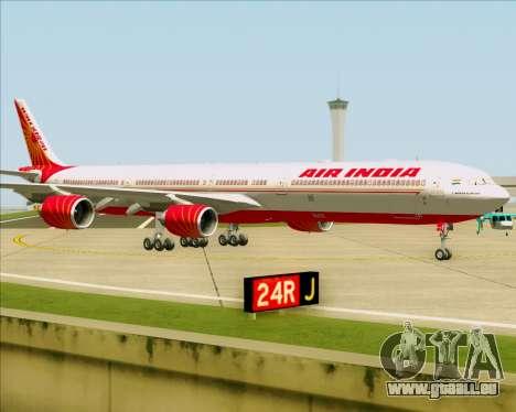 Airbus A340-600 Air India für GTA San Andreas zurück linke Ansicht