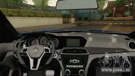 Mercedes-Benz C63 AMG Sedan 2012 pour GTA San Andreas sur la vue arrière gauche
