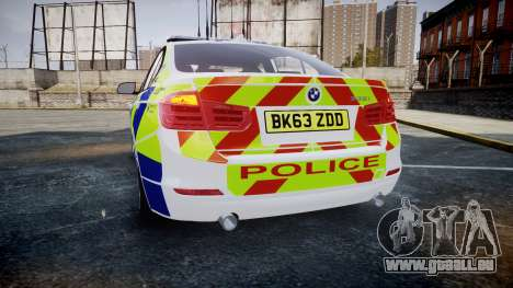 BMW 335i 2013 Central Motorway Police [ELS] für GTA 4 hinten links Ansicht