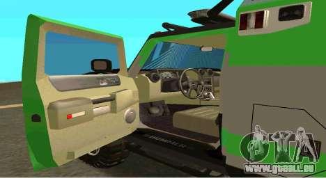 Hummer H2 Ratchet Transformers 4 pour GTA San Andreas sur la vue arrière gauche