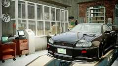 Garage mit neuem Innenraum Alkaline