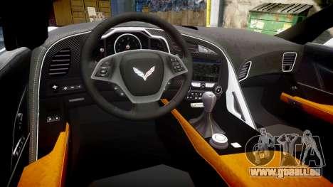 Chevrolet Corvette Z06 2015 TireBr3 pour GTA 4 est une vue de l'intérieur