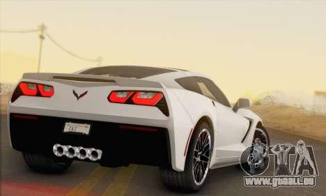 Chevrolet Corvette Stingray C7 2014 für GTA San Andreas zurück linke Ansicht