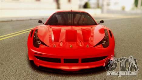 Ferrari 62 F458 2011 für GTA San Andreas Rückansicht