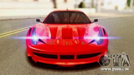 Ferrari 62 F458 2011 pour GTA San Andreas vue intérieure