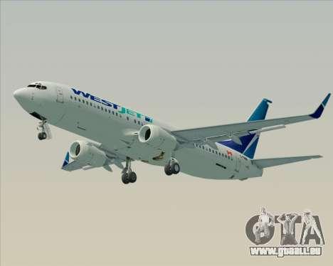 Boeing 737-800 WestJet Airlines pour GTA San Andreas sur la vue arrière gauche