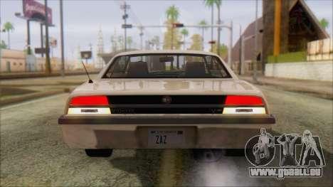 GTA 5 Vigero pour GTA San Andreas sur la vue arrière gauche