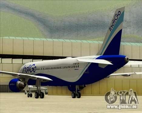 Airbus A320-200 IndiGo für GTA San Andreas obere Ansicht