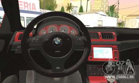 BMW M3 Coupe Tuned Version Burnout für GTA San Andreas rechten Ansicht