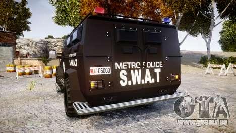 SWAT Van Metro Police [ELS] für GTA 4 hinten links Ansicht