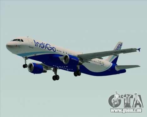 Airbus A320-200 IndiGo pour GTA San Andreas sur la vue arrière gauche