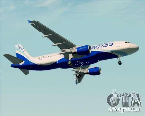 Airbus A320-200 IndiGo pour GTA San Andreas vue de dessous