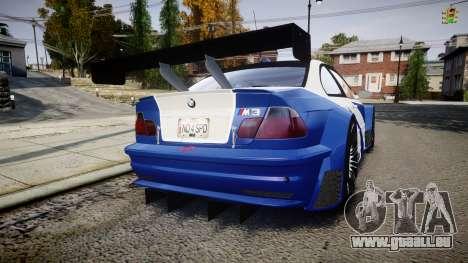 BMW M3 E46 GTR Most Wanted plate NFS ND 4 SPD für GTA 4 hinten links Ansicht