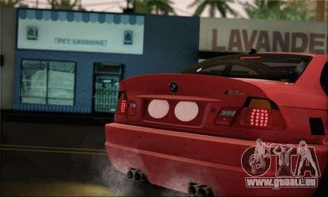 BMW M3 Coupe Tuned Version Burnout für GTA San Andreas zurück linke Ansicht