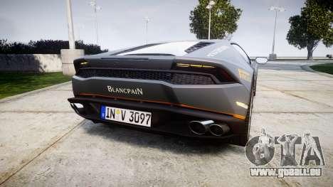 Lamborghini Huracan LP 610-4 2015 Blancpain pour GTA 4 Vue arrière de la gauche