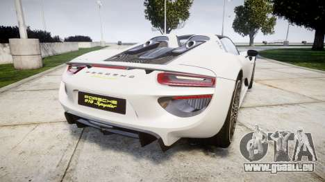 Porsche 918 Spyder 2014 pour GTA 4 Vue arrière de la gauche