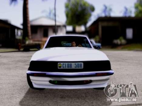 Lampadati Pigalle GTA V pour GTA San Andreas sur la vue arrière gauche