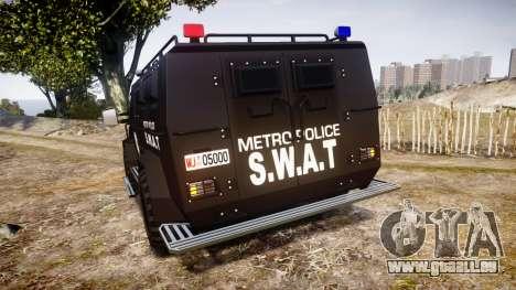 SWAT Van Metro Police pour GTA 4 Vue arrière de la gauche