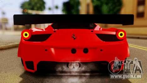 Ferrari 62 F458 2011 für GTA San Andreas Seitenansicht