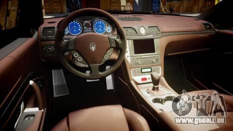 Maserati GranTurismo S 2010 PJ 1 pour GTA 4 Vue arrière
