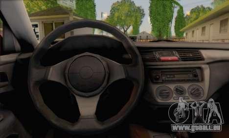 Mitsubishi Lancer Evo III pour GTA San Andreas sur la vue arrière gauche
