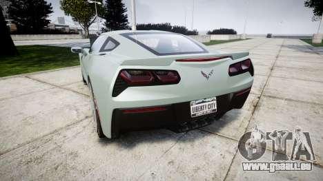 Chevrolet Corvette C7 Stingray 2014 v2.0 TireGY pour GTA 4 Vue arrière de la gauche