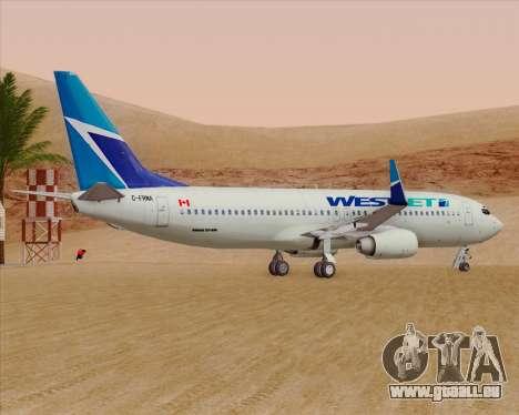 Boeing 737-800 WestJet Airlines pour GTA San Andreas vue arrière