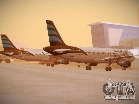 Airbus A320-214 Afriqiyah Airways für GTA San Andreas zurück linke Ansicht