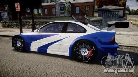 BMW M3 E46 GTR Most Wanted plate NFS ND 4 SPD für GTA 4 linke Ansicht
