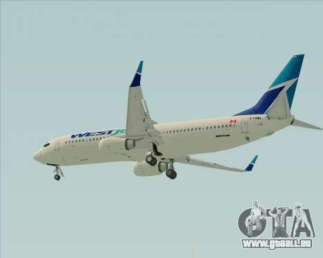 Boeing 737-800 WestJet Airlines pour GTA San Andreas vue intérieure